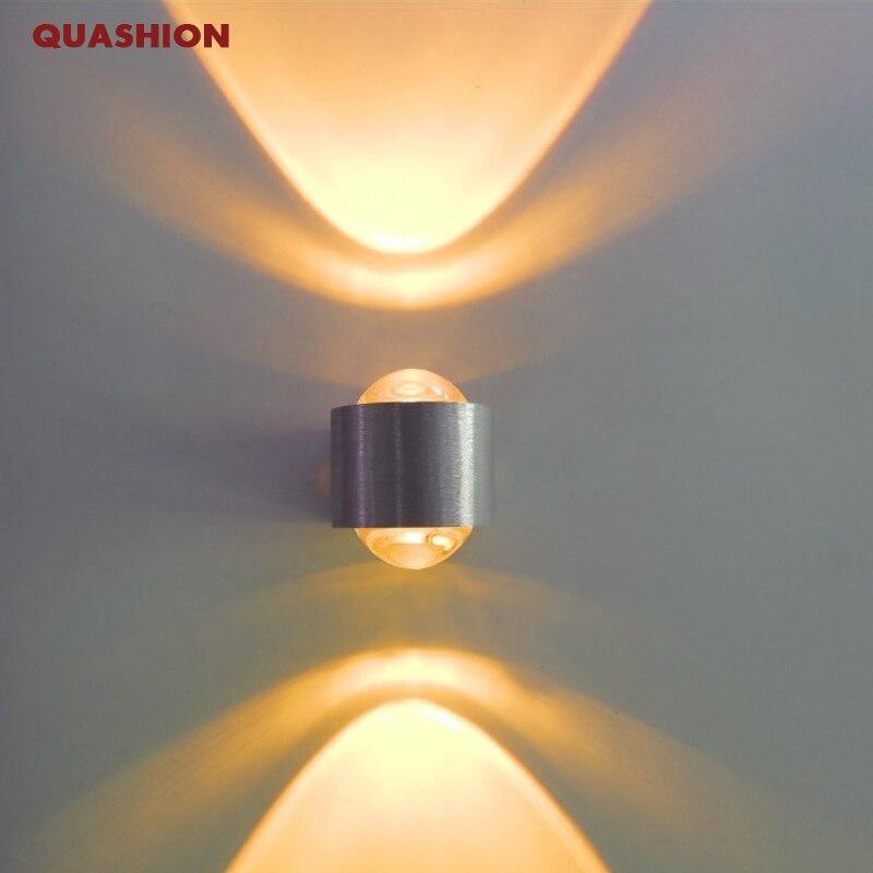 indoor 2 w led wall lampada ac110v 220 v para cima e para baixo material de