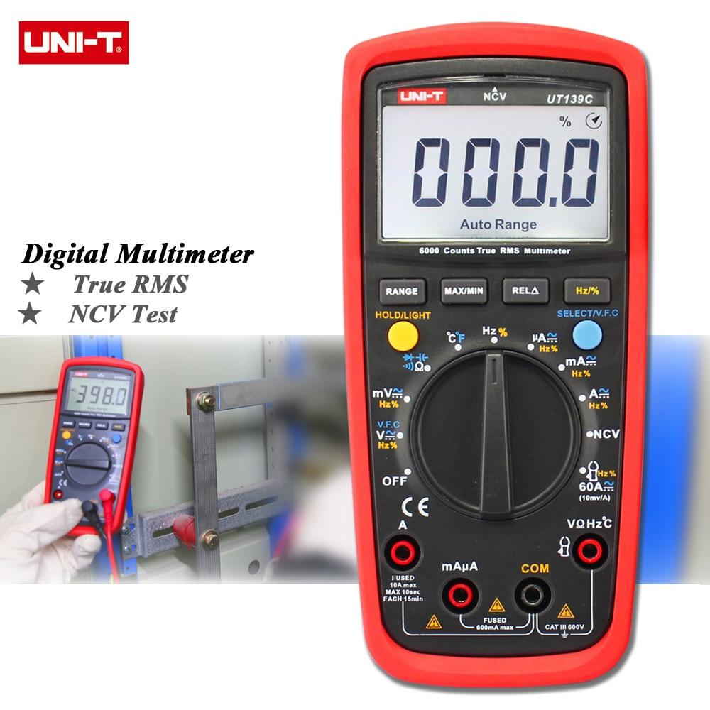 UNI-T UT139A UT139B UT139C Digital Multimeter Auto Range True RMS Meter Handheld Tester 6000 Count Voltmeter Temperature Test dt830b handheld digital multimeter electrician with a to send meter pen