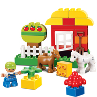 45pcs Happy Farm Animal Compatible With Legoe Dupoe Baseplate Building Blocks Sets Large Particles Animal Model