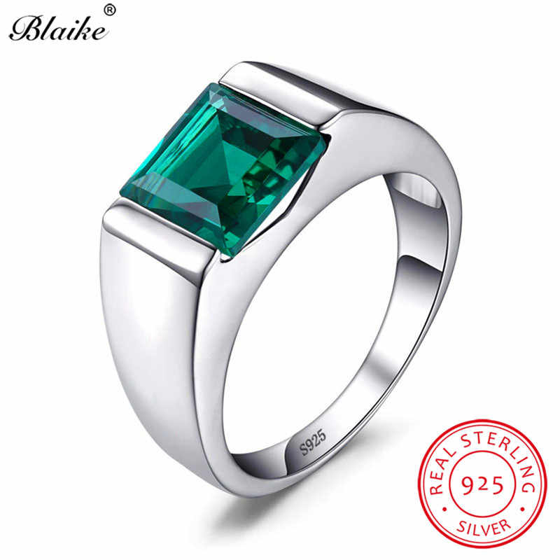 Blaike 100% Real 925 Sterling Silver Rings For Men Women Square Green Emerald Blue Sapphire Birthstone Wedding Ring Fine Jewelry