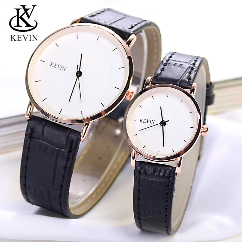 KEVIN KV A Pair Fashion Leather Couple Watch Men Women Watches Students Gift Simple Quartz Wrist Watch Girls Boys Dropshipping