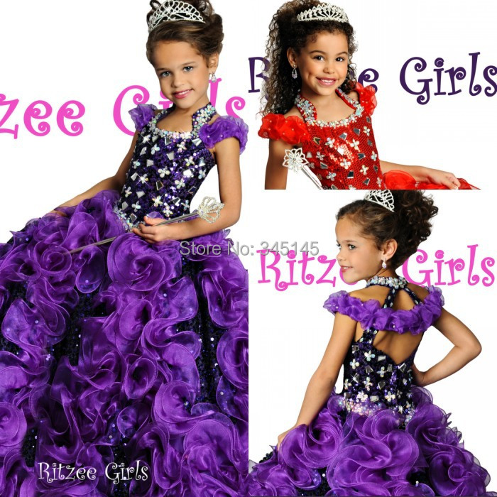 Free Shipping Ball Gown Floor Length Organza   Flower     Girls     Dress   Crystal Special Occasion   Dress   For   Girls   Pageant