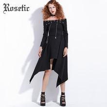 Женское асимметричное платье в стиле панк рок rosetic черное