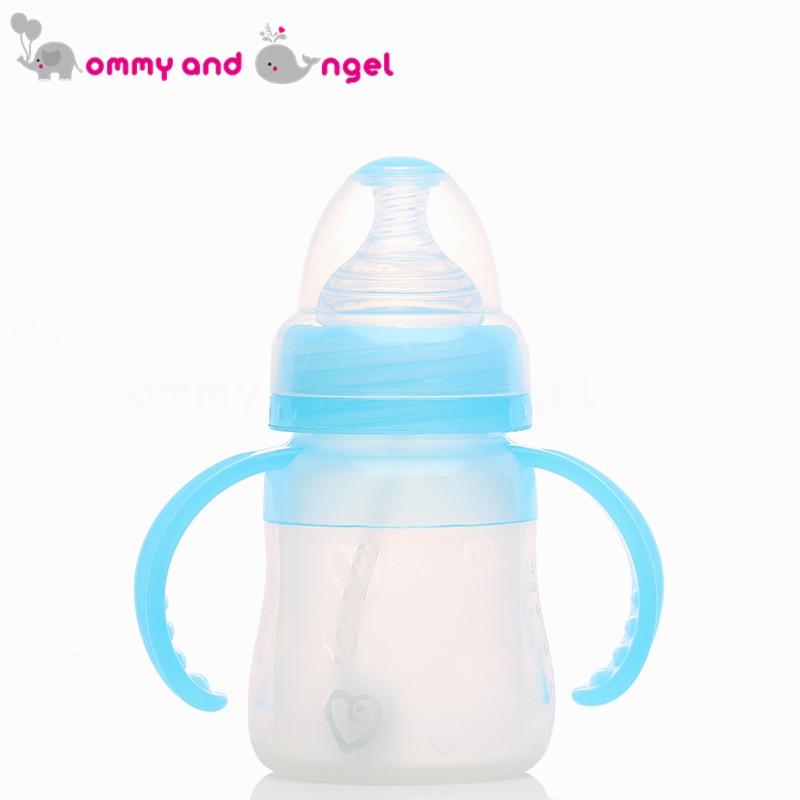 Мама и ангел 150 мл синий и розовый классический мальчик и девочка бутылочку для кормления BPA бесплатно кремния соски молочных бутылочку для ...