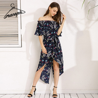 Gracegirl 2017 Summer Women Dresses Series Fashion Beach Casual Off Shoulder Floral Printed Maxi Dress For Woman ASS030