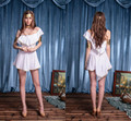 Deguisement sexy Greek goddess white inclined shoulder evening dress Halloween role playing The birthday party dance clothes
