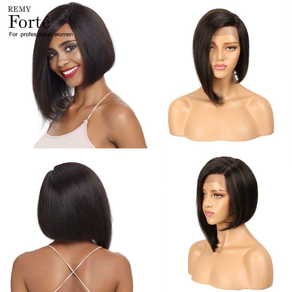 Remy Forte Lace Front Human Hair Wigs Straight Real 100 Remy Brazilian Wigs U Part Short