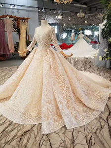 Image 3 - LS11003 champagne lace wedding dresses 2020 square neck see through long sleeves sexy v back wedding gown with shiny long train