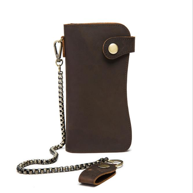 XIAOYANAETOO Leather goods retro crazy horse skin personality long wallet wallet multi-layer clutch bag men wallet Vintage Chain