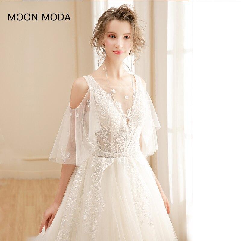 Real Simple Weddings 2017: Long Half Sleeve Muslim Lace Wedding Dress High Quality