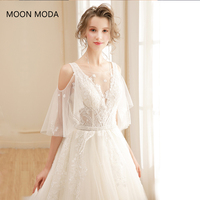 long half sleeve muslim lace wedding dress high quality 2018 bride simple bridal gown real photo weddingdress vestido de noiva