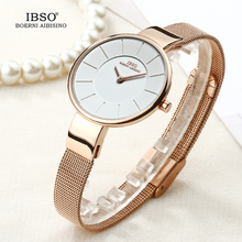 Ibso marca 6.5mm ultra fino relógio de quartzo mulher aço inoxidável malha e pulseira de couro relógios femininos 2019 moda montre femme