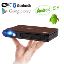 CAIWEI Android 5.1 OS Pico Pocket HD Portable Micro WIFI Bluetooth Mini LED DLP Projector with Battery HDMI USB VGA