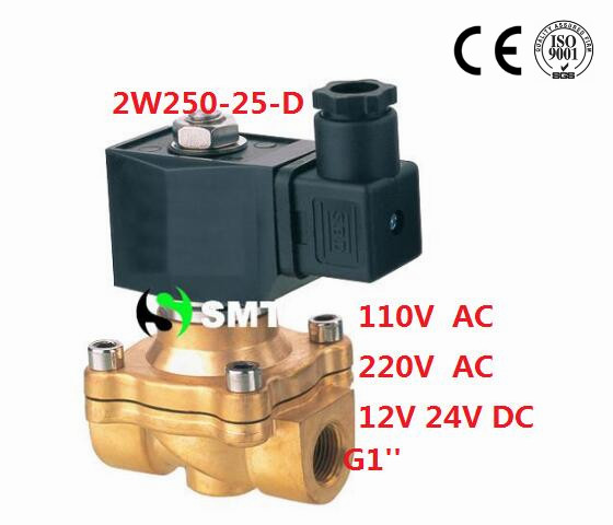 Free Shipping 1'' 2-Way Brass Solenoid Valve NBR Seals DIN Gas Air Water Oil Electric Pneumatic DC12V,DC24V,AC110V or AC220V free shipping new 1 2 inch brass solenoid valve 12v dc electric air water gas diesel fuel din coil 2w160 15 d