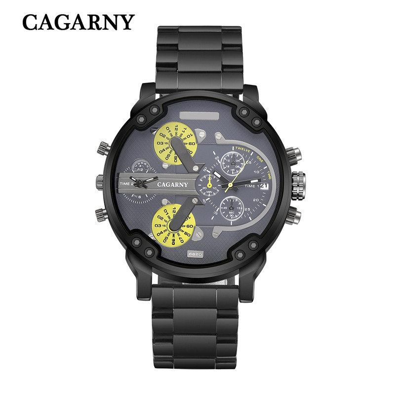 very cool dz big case mens watches full steel band dual time zones miltiary watch men quartz wrist watch free shhipping (4)