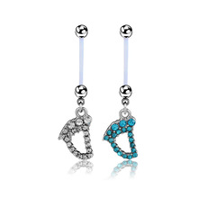 Flexible Pregnancy Maternity Baby Feet Dangle Navel Belly Button Piercing Ring