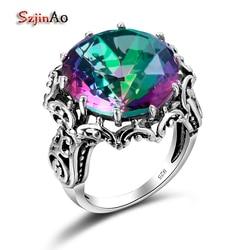 Szjinao wielka tęcza mistyczny Topaz pierścionki dla kobiet prawdziwe 925 Sterling srebrne wesele zaręczyny płatek kwiatu czechy Fine Jewelry