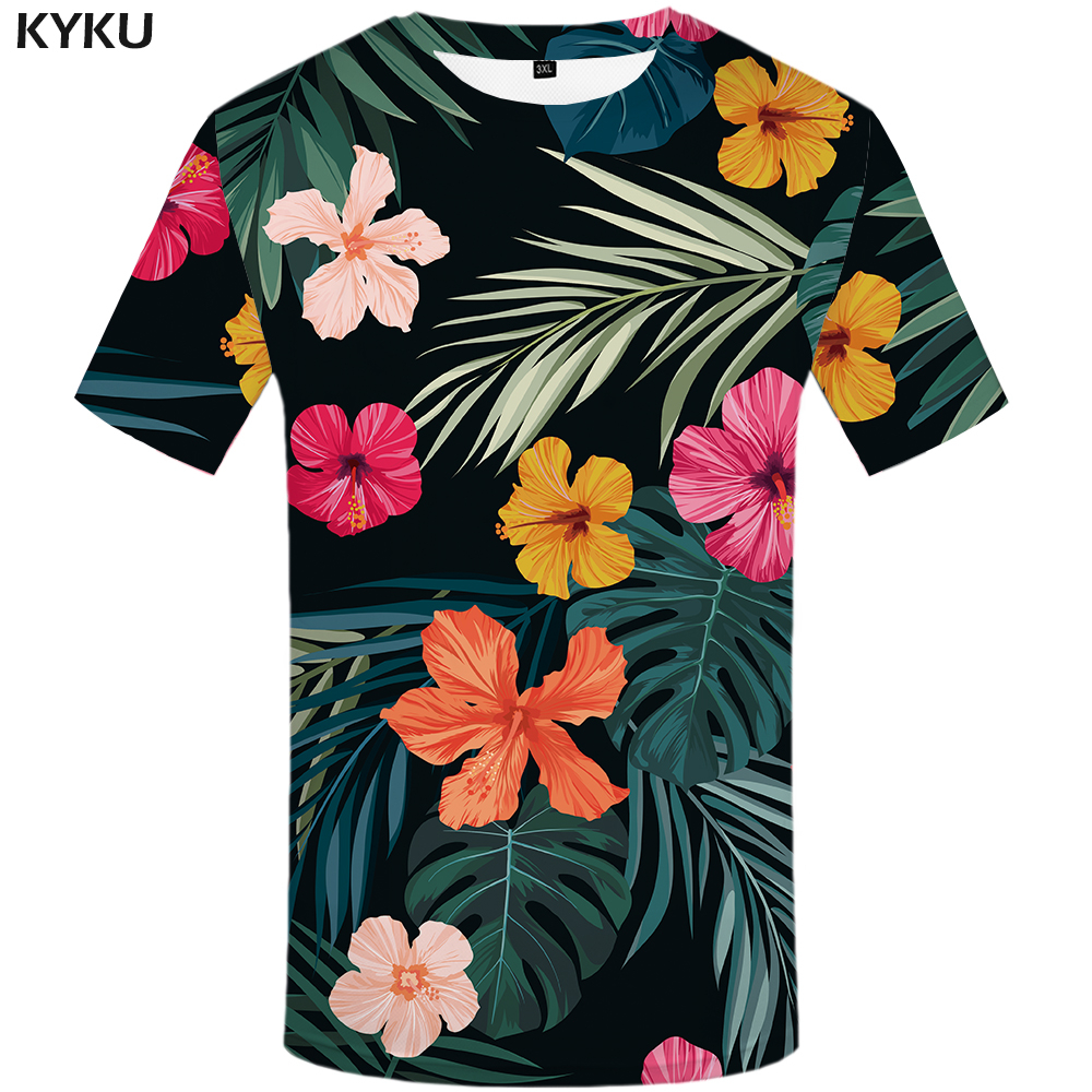 KYKU Brand Flower T shirt Green Leaves Tops Weeds Shirts Fashion Clothes  Clothing  Tees Men 3d T shirt Mens Tee Cool Tee