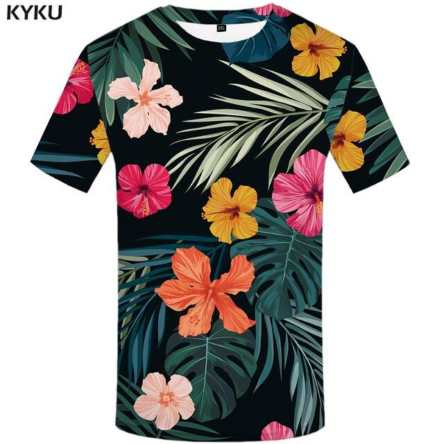 215f4b48d1 KYKU Marca camiseta Flor Folhas Verdes Tops Ervas Daninhas Camisas Moda  roupas Roupas T-shirt