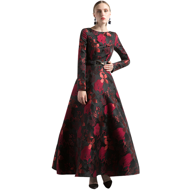 DF Luxury Vintage Jacquard O Neck Autumn Long Dress Plus Size Muslim ...