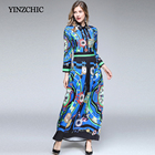 Fashion Womans Printed Dresses Full Sleeve Fall New Maxi Dress Woman Slim A-Line Party Dresses For Women Vintage Print Vestidos