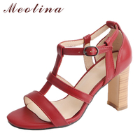 Meotina Women Shoes High Heels Gladiator Sandals Peep Toe Ladies Party Shoes Summer 2018 New Chunky