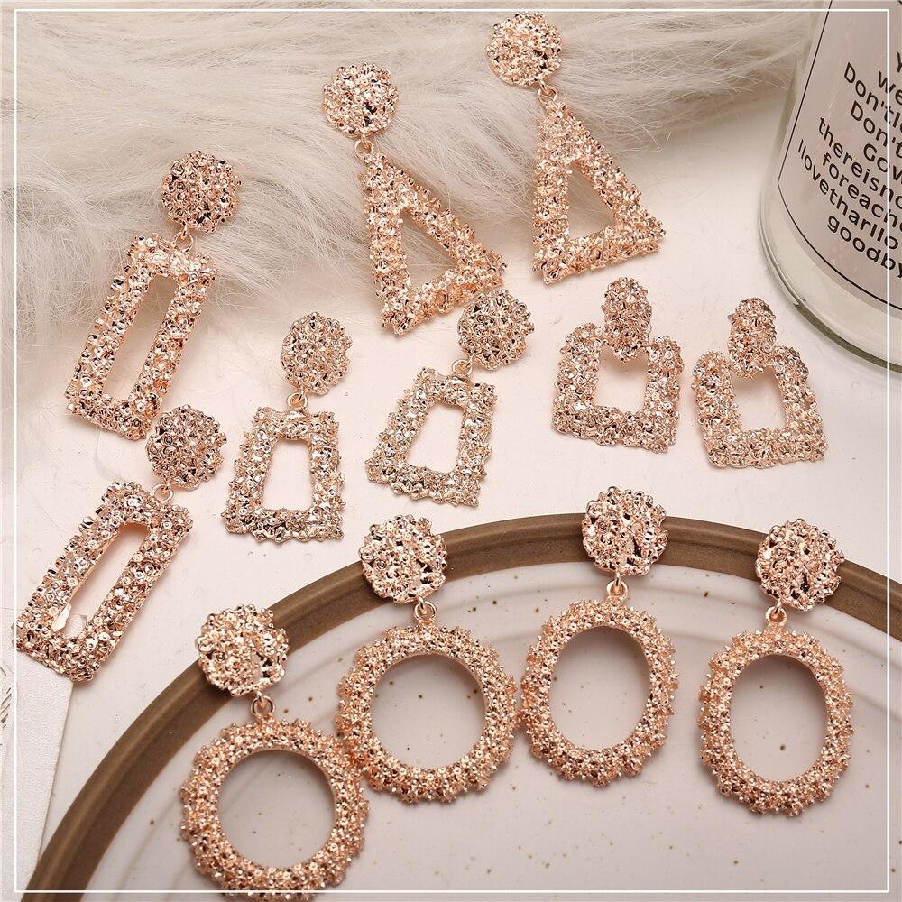 Aliexpress.com : Buy 17KM Fashion Geometric Rose Gold Color Drop Earrings For Women New Brincos ...