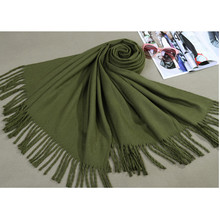 Free Shipping Army Green Winter Women's Cashmere Shawl Scarf Thick Warm Wrap SW12-M