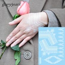 1pc Women Tattoo Hands Neck Body Henna Art Jewelry Chains For Wedding White Flowers Temporary Water Transfer Tattoo Sticker