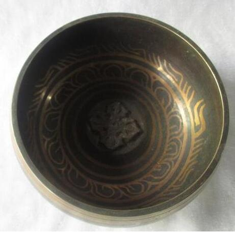 YM  305   Tibetan Copper Singing Bowl With a Wooden Stick Chinese Handwork buddha Bowl Size :Diameter 13cm