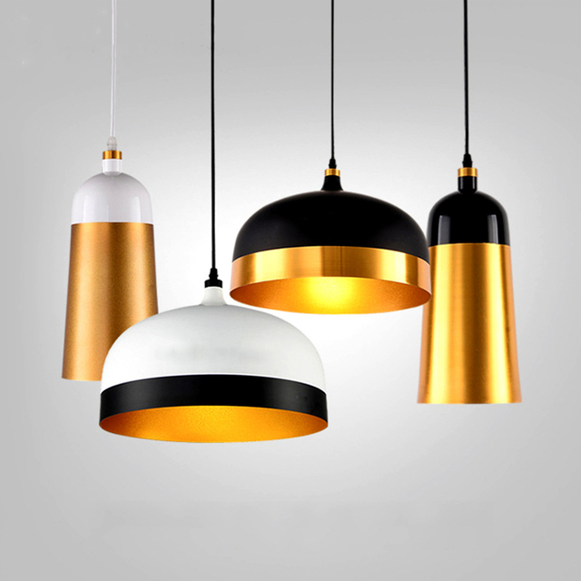 Retro Pendant Light Black Gold Metal Antique Lamp Shade For Bar Cafe Dinning Room