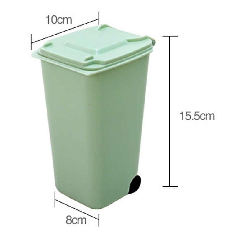 1 pc Mini Lata De Lixo Para Casa material de Escritório Portátil Reutilizável Caixote de Lixo Plástico Bin Multiuso Tesoura Caneta De Armazenamento Gadget