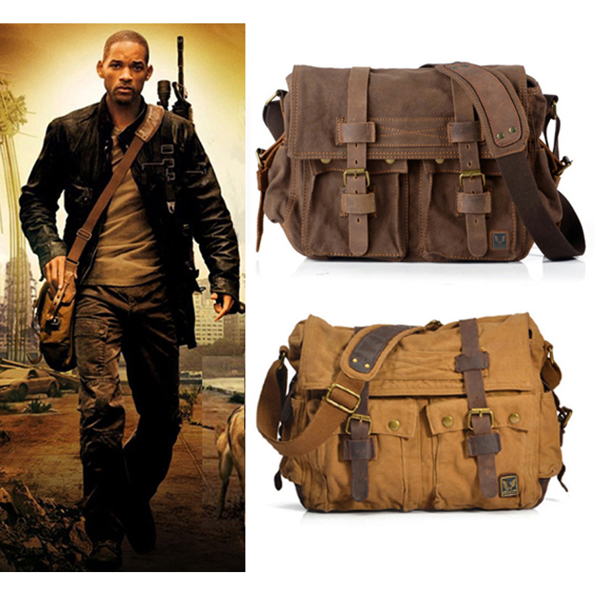 Vintage New 2014 fashion Real leather + military canvas shoulder bag Men leather canvas messenger bag for men Leisure bag Size M одежда на маленьких мальчиков