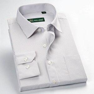 Image 4 - عالية الجودة جديد الصيف/الربيع حجم كبير S ~ 5xl طويلة الأكمام مخطط الرجال فستان قمصان منتظم صالح غير الحديد سهلة الرعاية