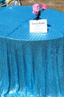 Factory Directly Wholesale 15PCS Wedding Decorative Turquoise/Silver Glitter Sequin Table Cloth 120'' Round Sequin Table Runner