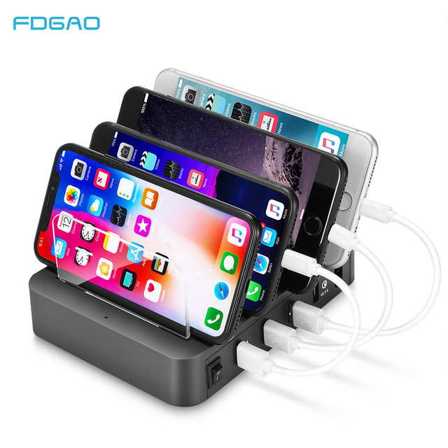 1843ec0af0f FDGAO QC3 0 USB Charging Station Dock With Stand 4 Ports 2 4A Multi  Function USB