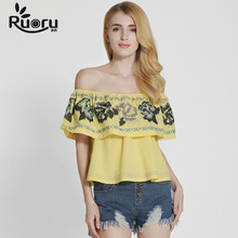 2017 European Style Cotton Women Blouses Off Shoulders Summer Tops for Women Sexy Embroidery Ruffle Blouse Fashion Female Shirt