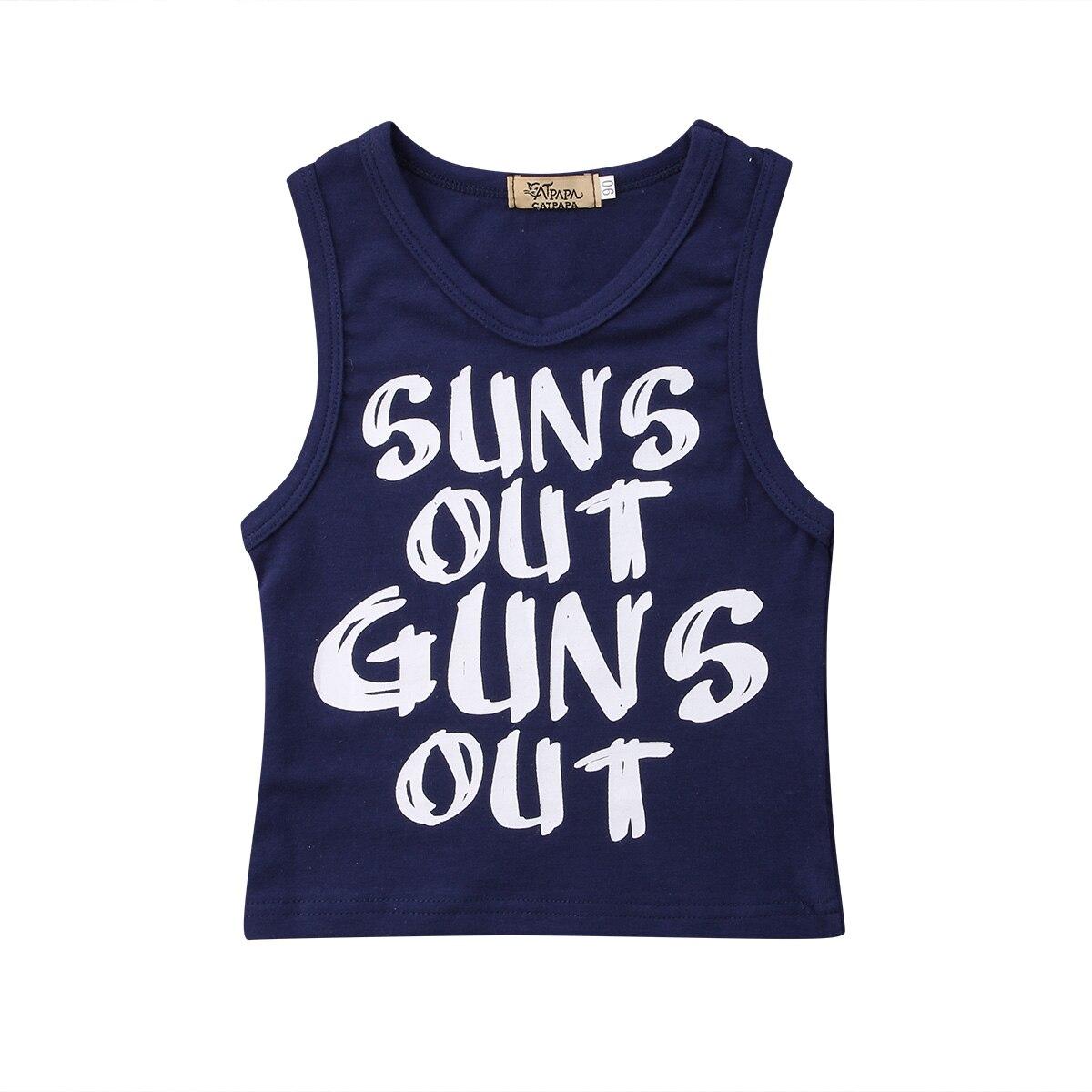 0-24 M Pasgeboren Peuter Kid Baby Boy Brief Print T-shirts Baby Jongens Zomer Sleevelesstee Tops Vest Baby Kleding