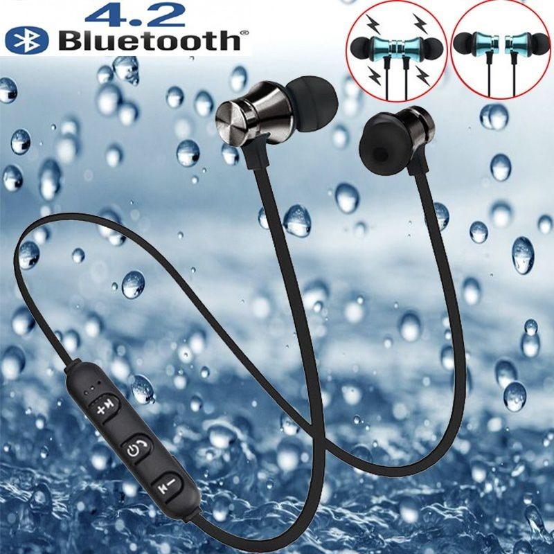 XT-11 Magnetic Bluetooth Earphone V4.2 Stereo Sports Waterproof Earbuds Wireless in-ear Headset with Mic for iPhone Samsung magnetic attraction bluetooth earphone headset waterproof sports 4.2