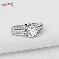 Colorfish sterling silver zaangażowanie wedding band pierścień dla kobiet biżuteria wysokiej jakości 2 carat nscd sona kobiet pierścionki rozmiar 4-11