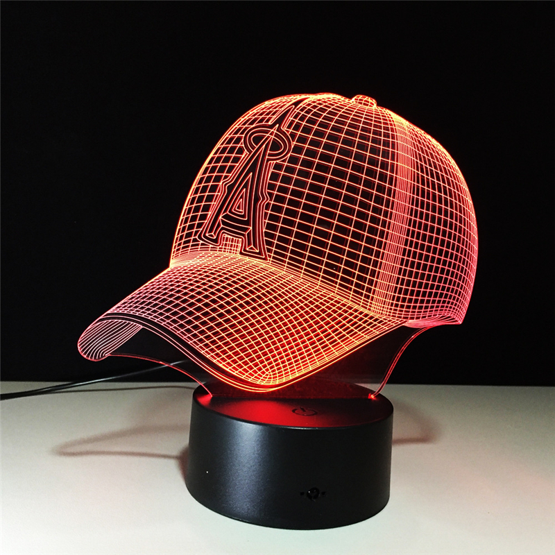 Acrylic 7 Color Changing Baseball cap 3D LED nightlight of bedroom lamp livingroom lights desk table Decor Night Light Kid Gift