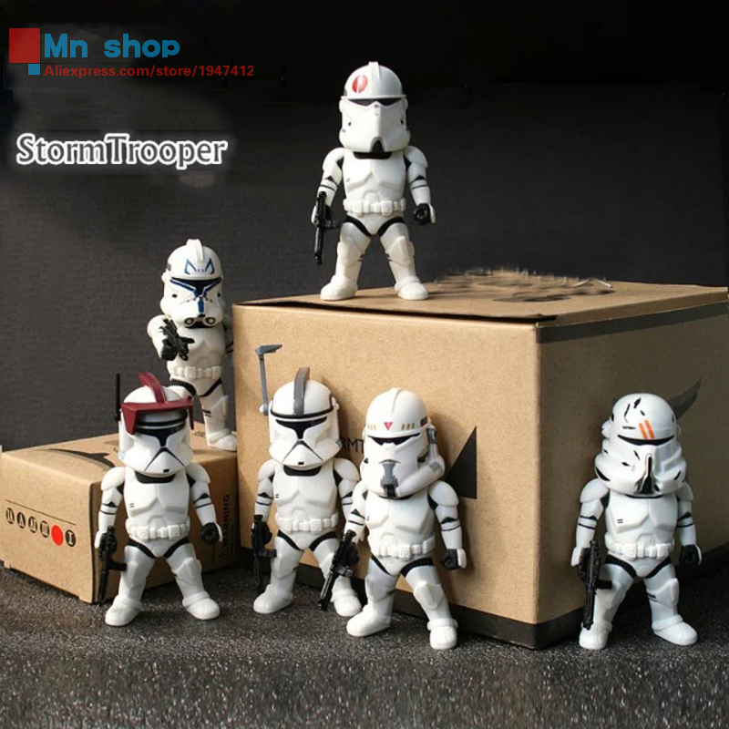 9cm 6pcs/set Star Wars 7 Series Stormtrooper Light & Action Function PVC Action Figures Collectible Model Toys patrulla canina with shield brinquedos 6pcs set 6cm patrulha canina patrol puppy dog pvc action figures juguetes kids hot toys