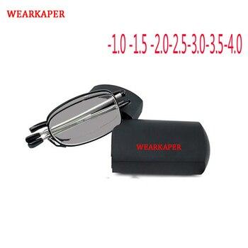 1fc596d2a4 WEARKAPER Marco de aleación de gafas de sol plegable fotosensibles  terminado hombres miopía gafas marco óptico de la miopía gafas hombre