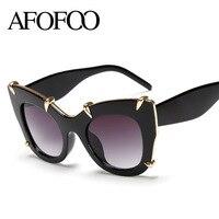 AFOOF Fashion Women Cat Eye Sunglasses Luxury Brand Designer Oversized Ladies Mirror Sun Glasses Big Frame