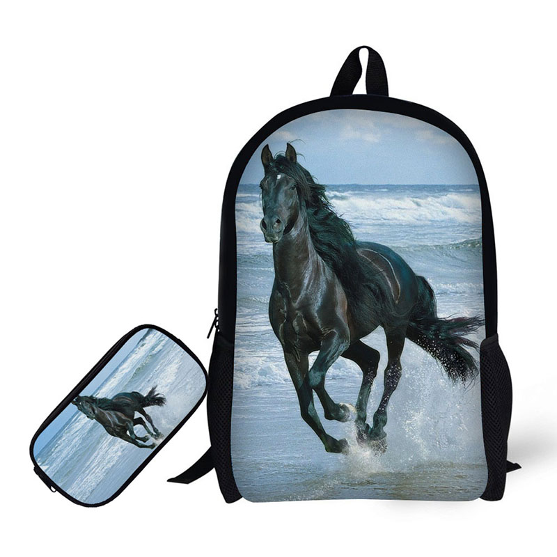 3D the horse Printing Children Backpack+Pencil case for High School Backpacks for Primary school students Teenagers Mochila baijiawei mochila infantil zip high quality children backpack for girls boys children school bags in primary school backpacks