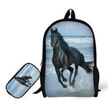 Детский рюкзак с 3d принтом лошади + чехол карандаш для старшей