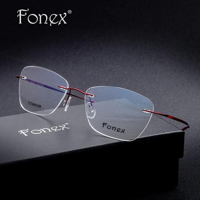 a38ba16f04aa Titanium Eyeglasses Square Rimless Optical Frame Prescription Sexy Women  Reading Myopia Cat Eye Glasses Purple
