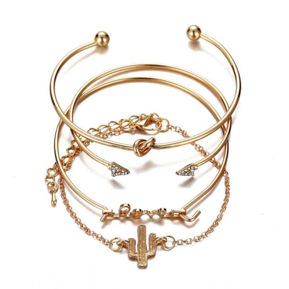 Bohemian Bracelets & Bangles Set Shell Map Heart Female Alloy Geometry Vintage Multilayer Charm Bracelet for Women Jewelry