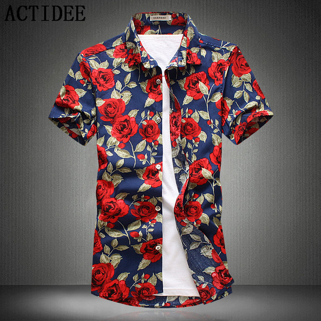 4d526eb7 15 Colors 2018 Fashion Mens Short Sleeve Cotton Hawaiian Shirt Plus Size  3XL 4XL 5XL Summer