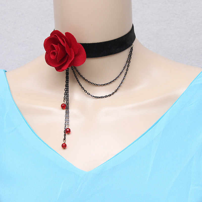 Gargantilhas góticas sexy gola de renda preta gargantilha colar flor vermelha vitoriana feminino chocker steampunk jóias venda